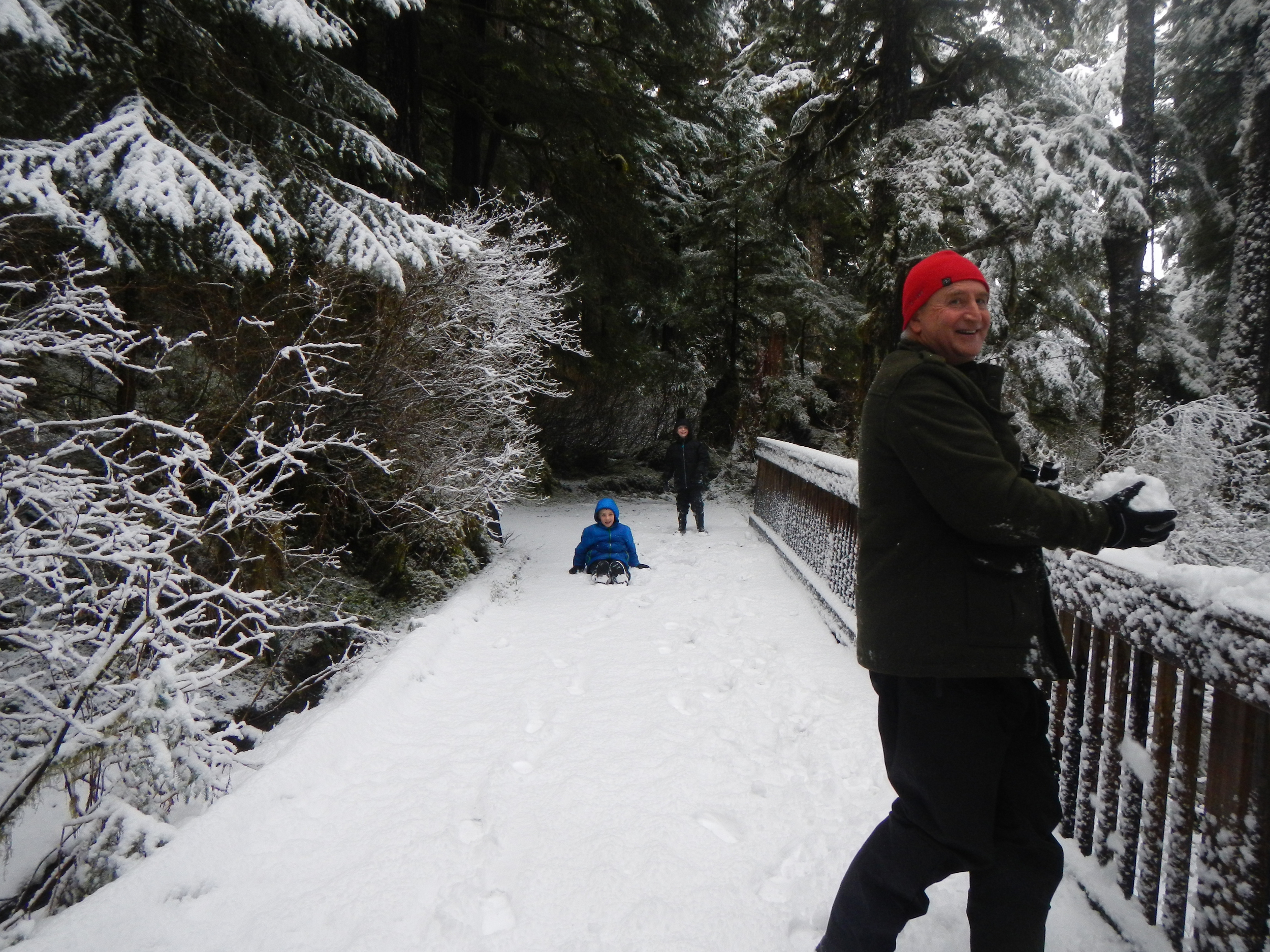 Greg instigates a snowball fight at Settler's Cove.