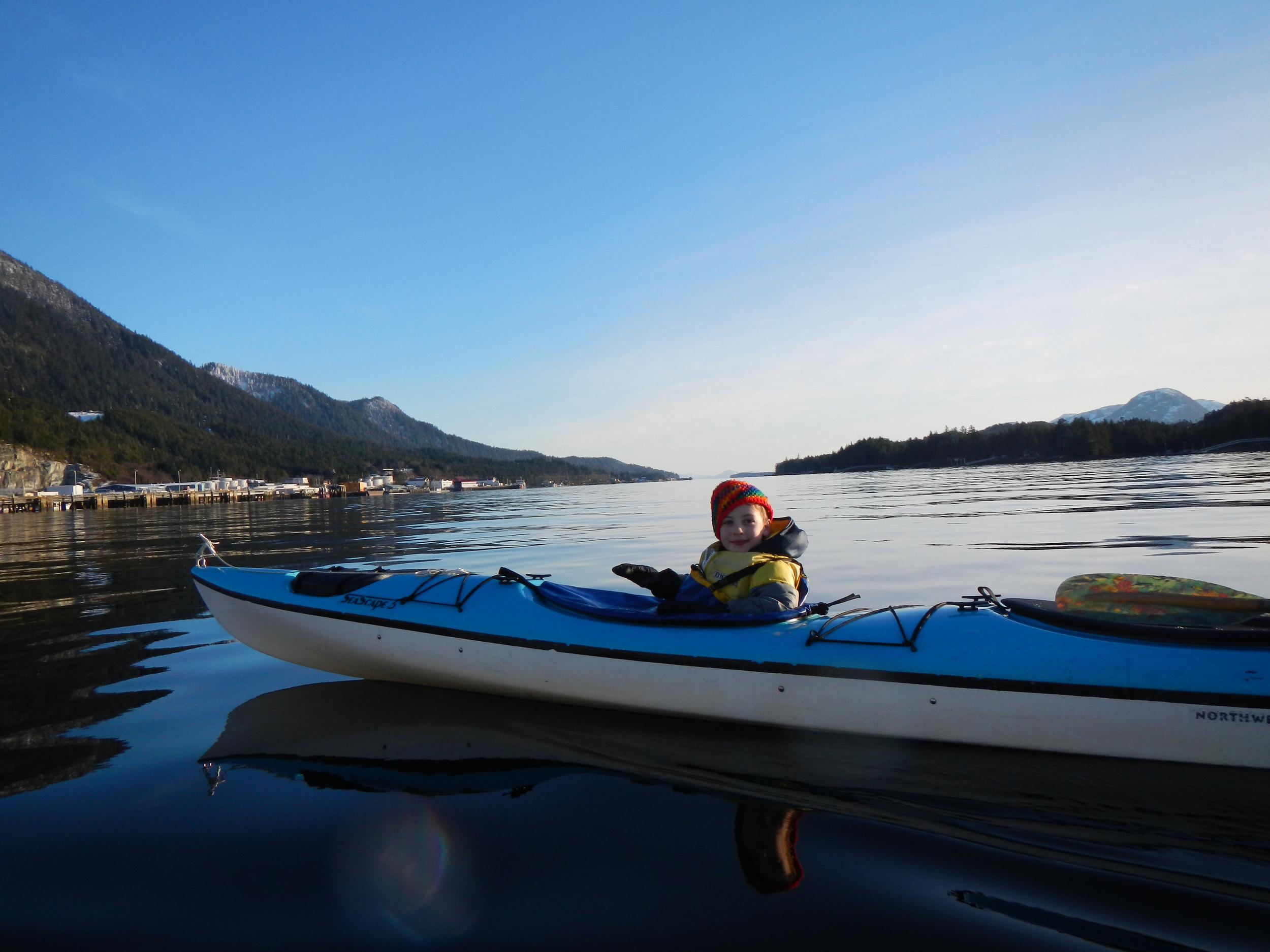 Winter paddle, Tongass Narrows near Ketchikan, Alaska