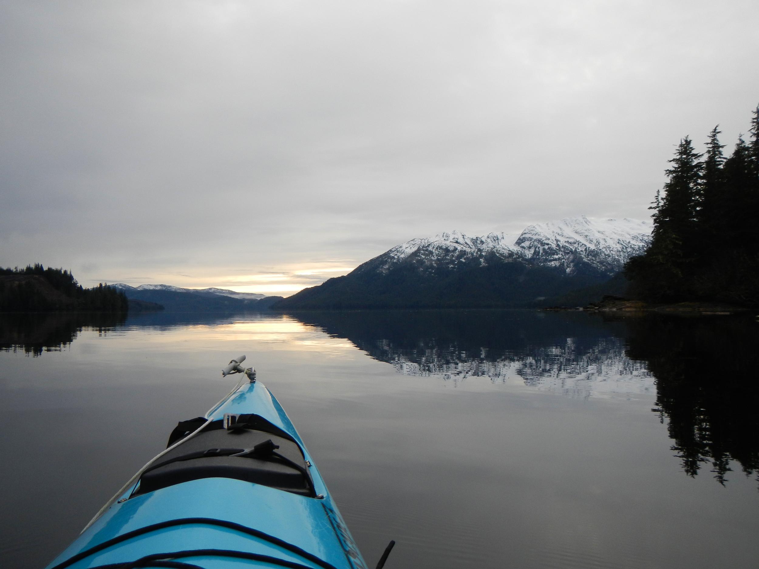 Winter Paddle George Inlet near Ketchikan Alaska