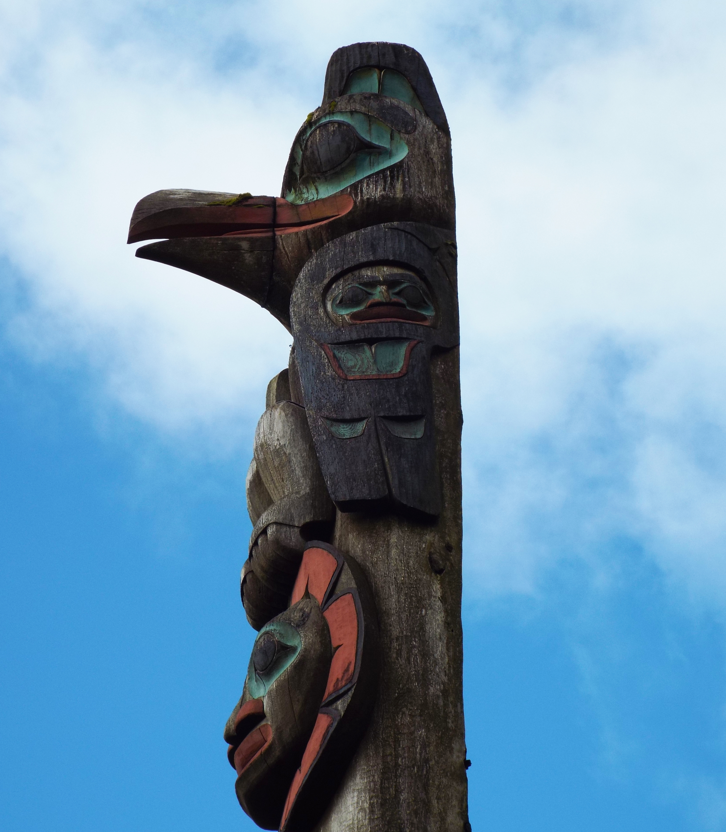 """The """"Raven Steals the Sun"""" Pole is one of many totem poles on display in downtown Ketchikan."""