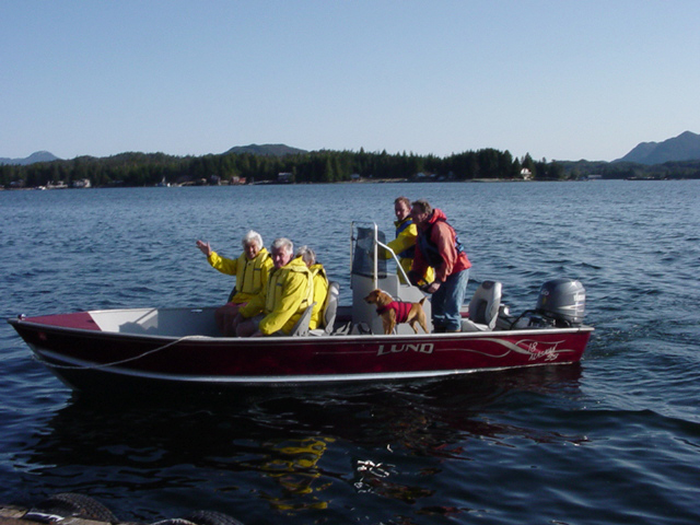 The first ever Orcas Cove tour heads out in the open Lund Skiff with Captain Greg Thomas and guide, Jai Thomas.