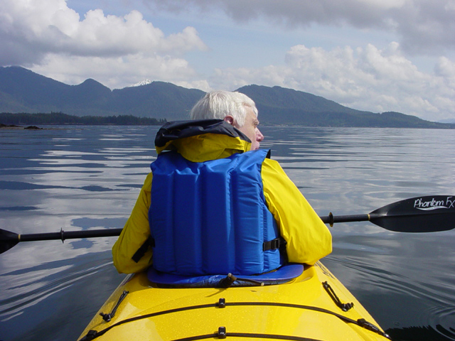 A beautiful day for paddling on the first day of Orcas Cove sea kayaking tour.