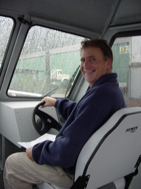 Greg was delighted to get the new Hewescraft, KDM, off the barge in 2004. No more riding in the open skiff in the rain!