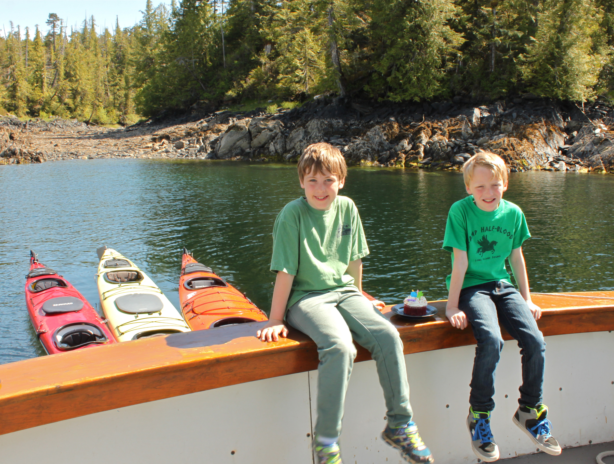 9 years old, now Declan & Clancy help Greg bring the Sea Spree home at the end of the day.