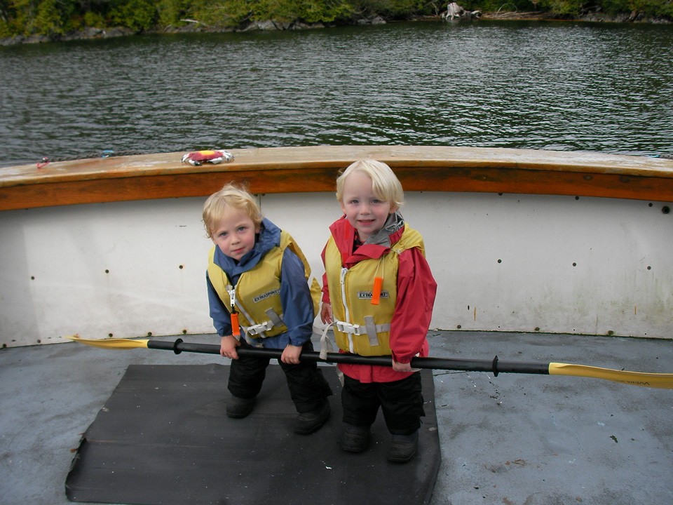 Southeast Sea Kayaks' twins, Declan and Clancy Thomas, learned to kayak at Orcas Cove and have been part of the fun since 2006.