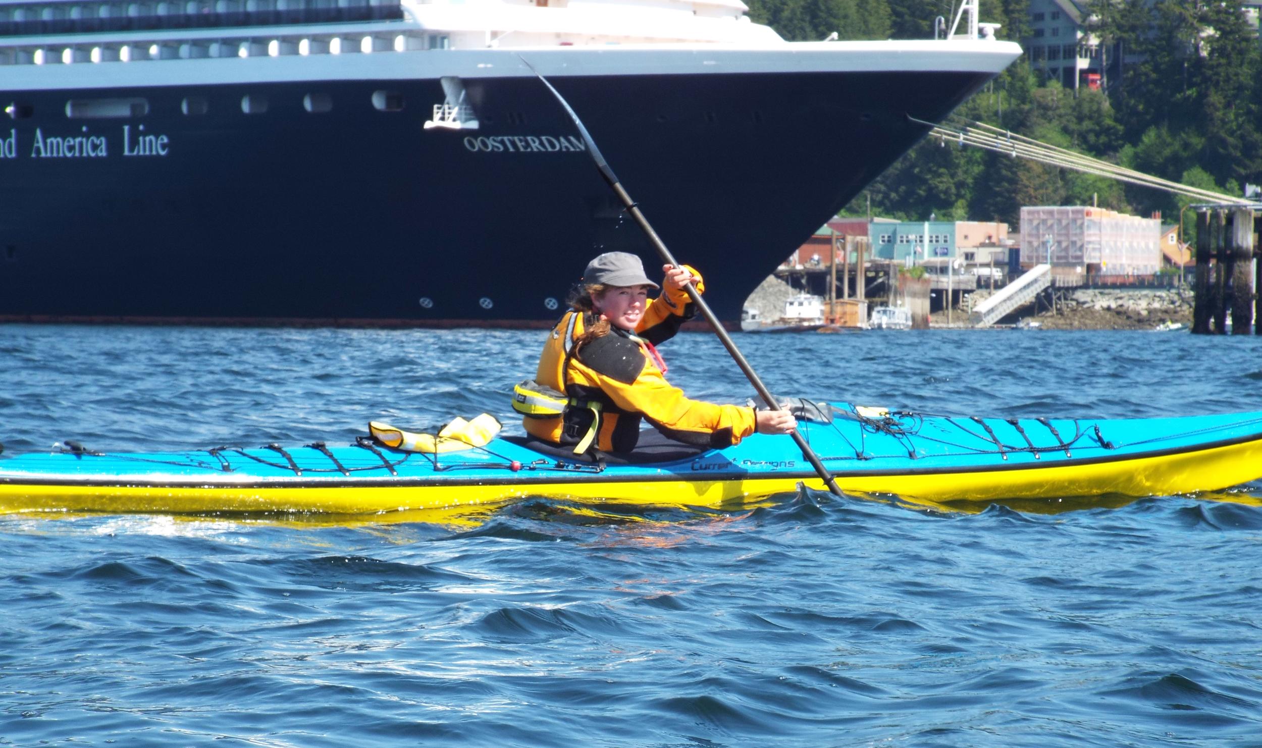 Jess crosses the Tongass Narrows on a Ketchikan Kayaking Tour.