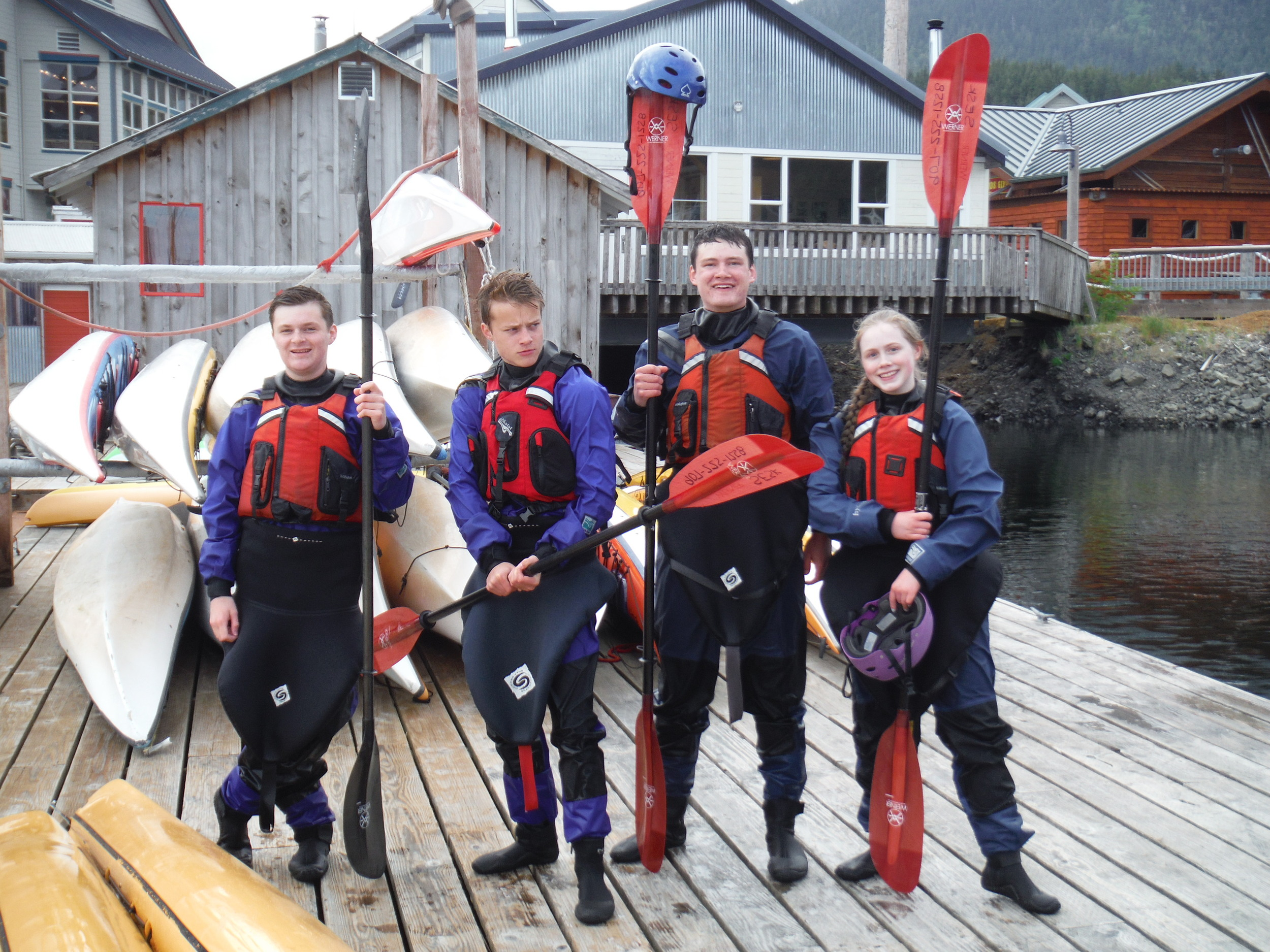 From left: Kenny, Rudy, Brendan and Clara all geared up for dry-suit training