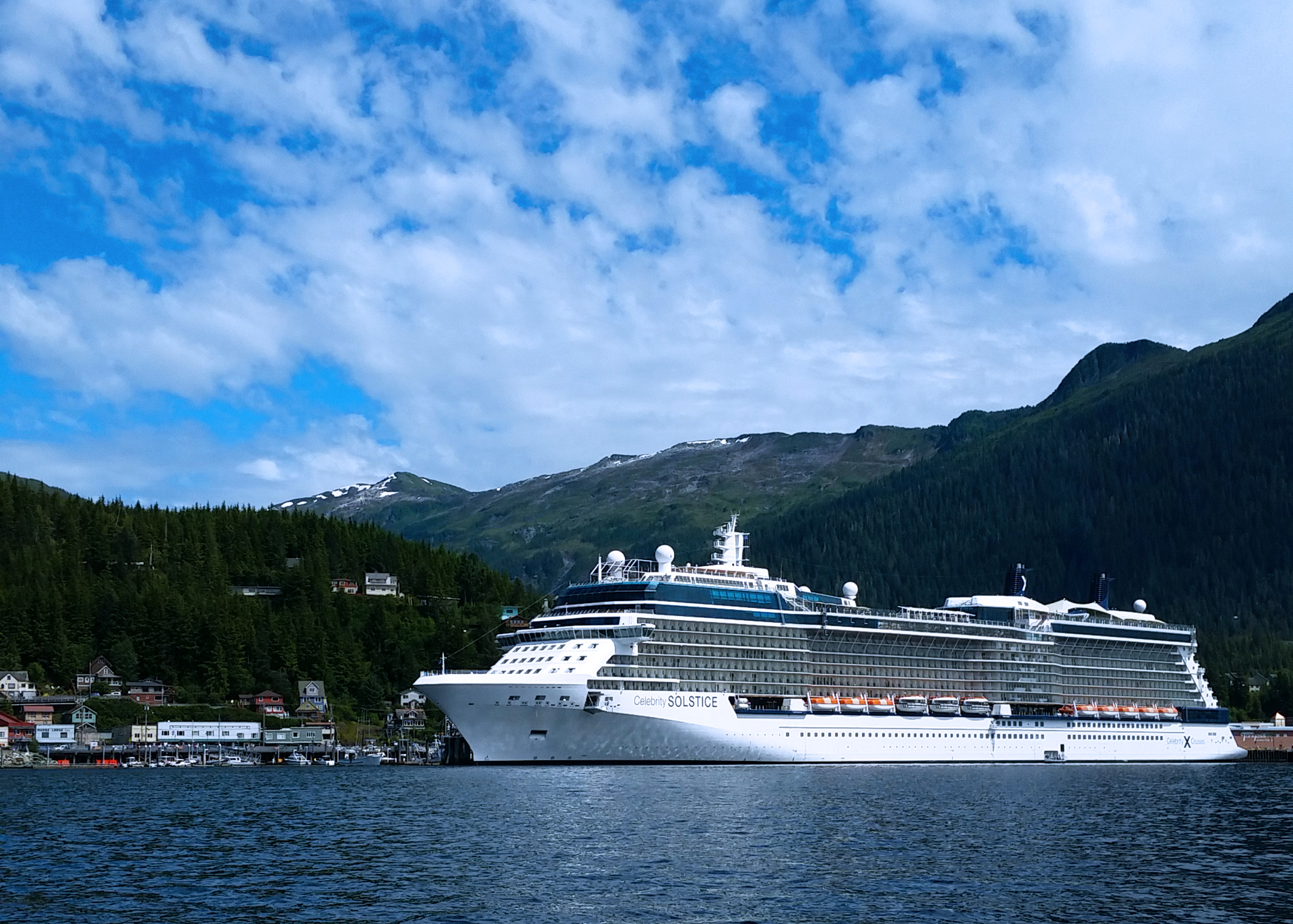 The Celebrity Solstice at the dock in Ketchikan, Alaska