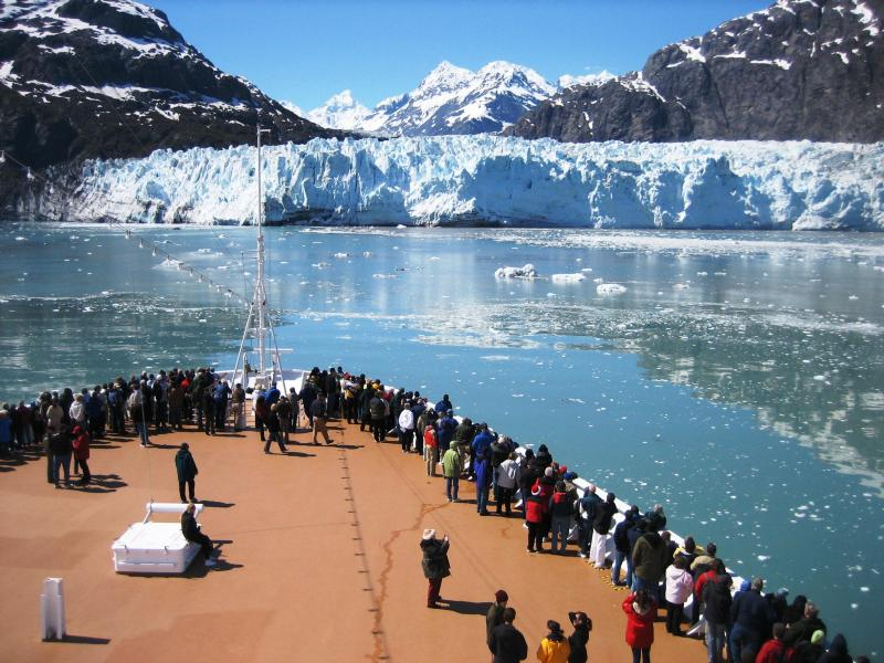 Cruise ship at Margerie Glacier in Glacier Bay National Park. The National Park Service has lots of information online to help visitors make the most of their cruise ship visit to Glacier Bay. Photo: NPS.
