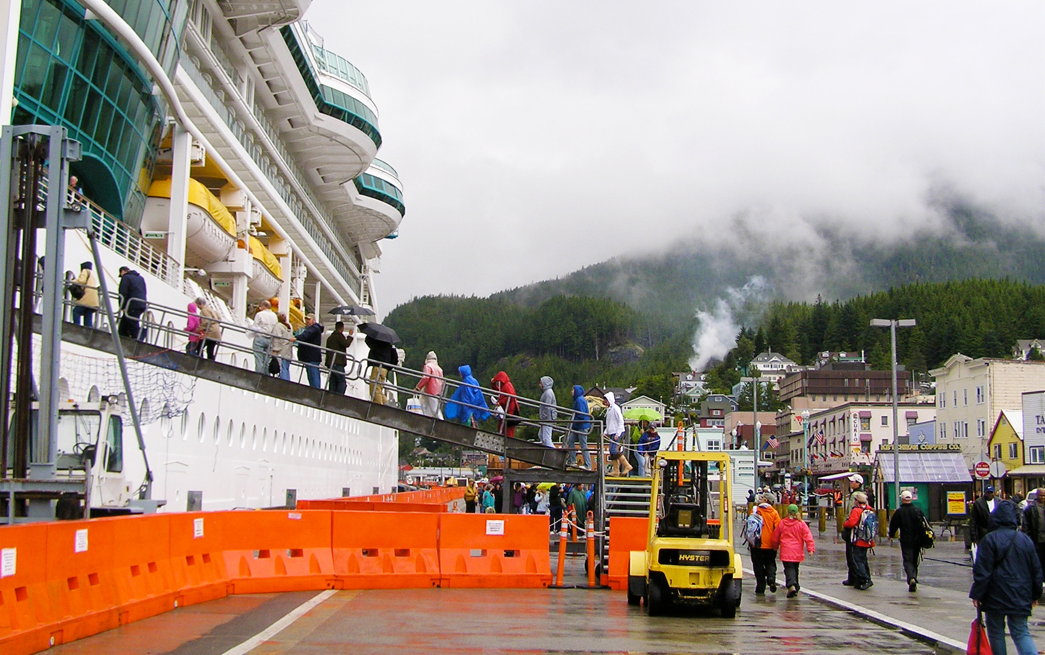 Cruise ships at the dock in Ketchikan, Alaska.
