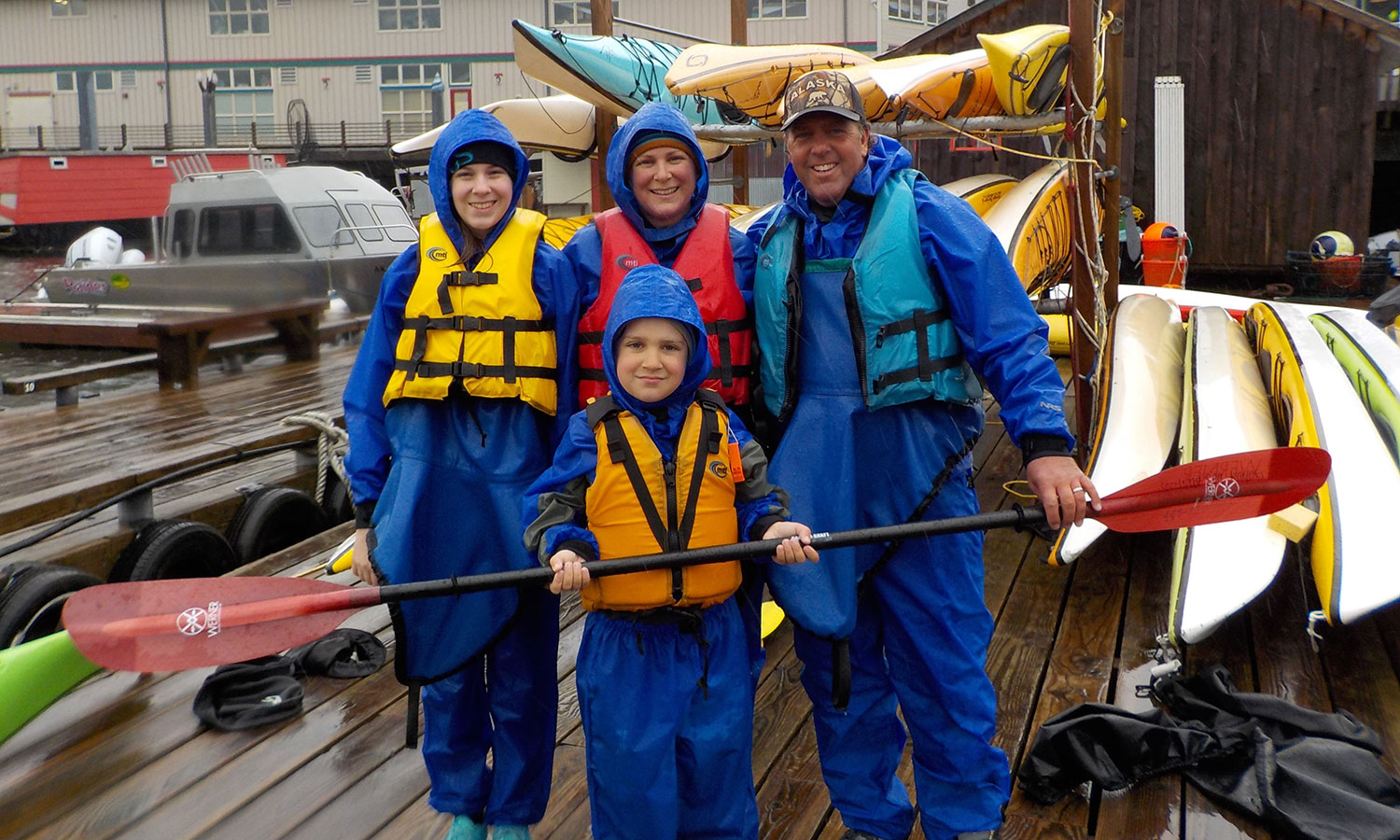 Visitors to Ketchikan geared up for a rainy paddle.