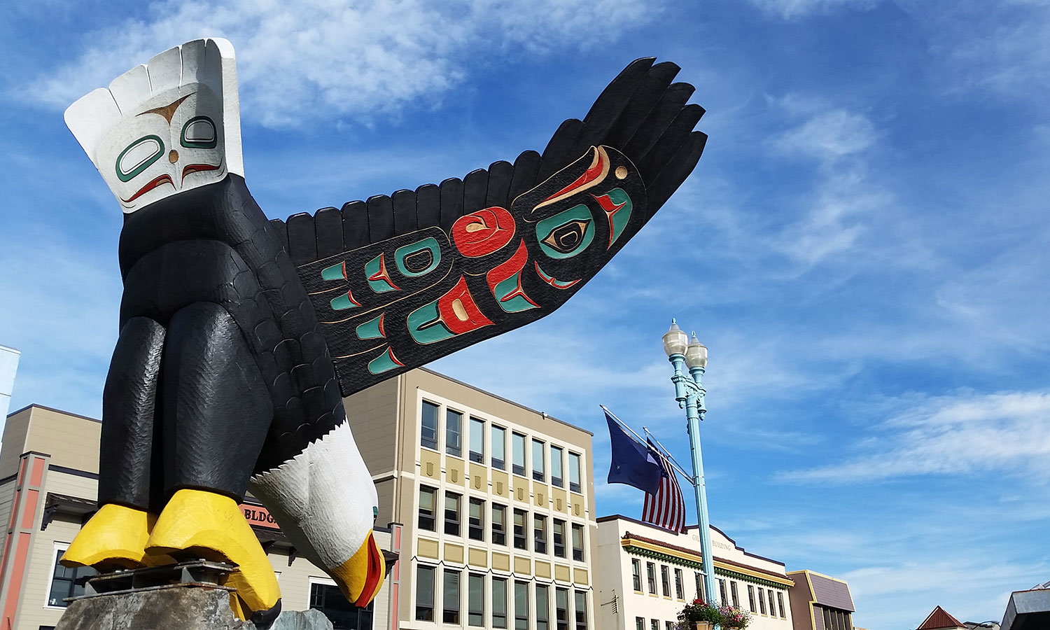 Nathan Jackson's Flying Eagle on Ketchikan's Front Street.