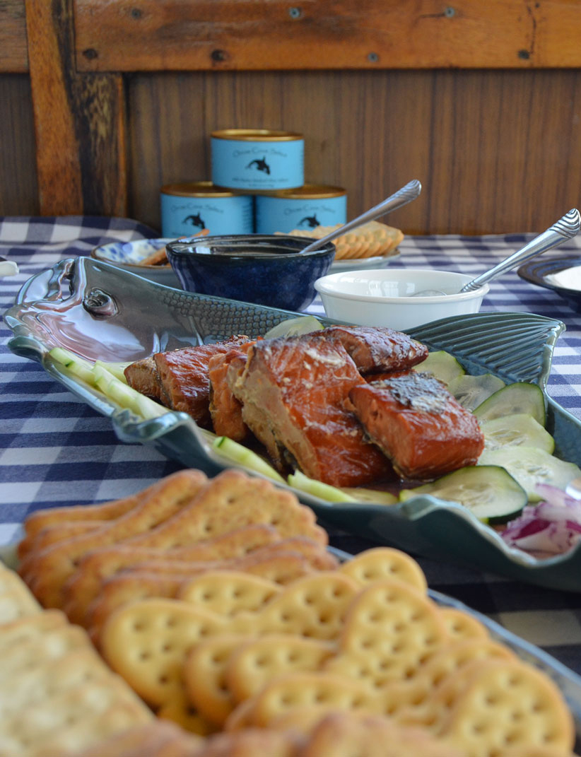 Our classic Orcas Cove Select Smoked Salmon picnic. served aboard the mother-ship, Sea Spree, on the Orcas Cove tour.