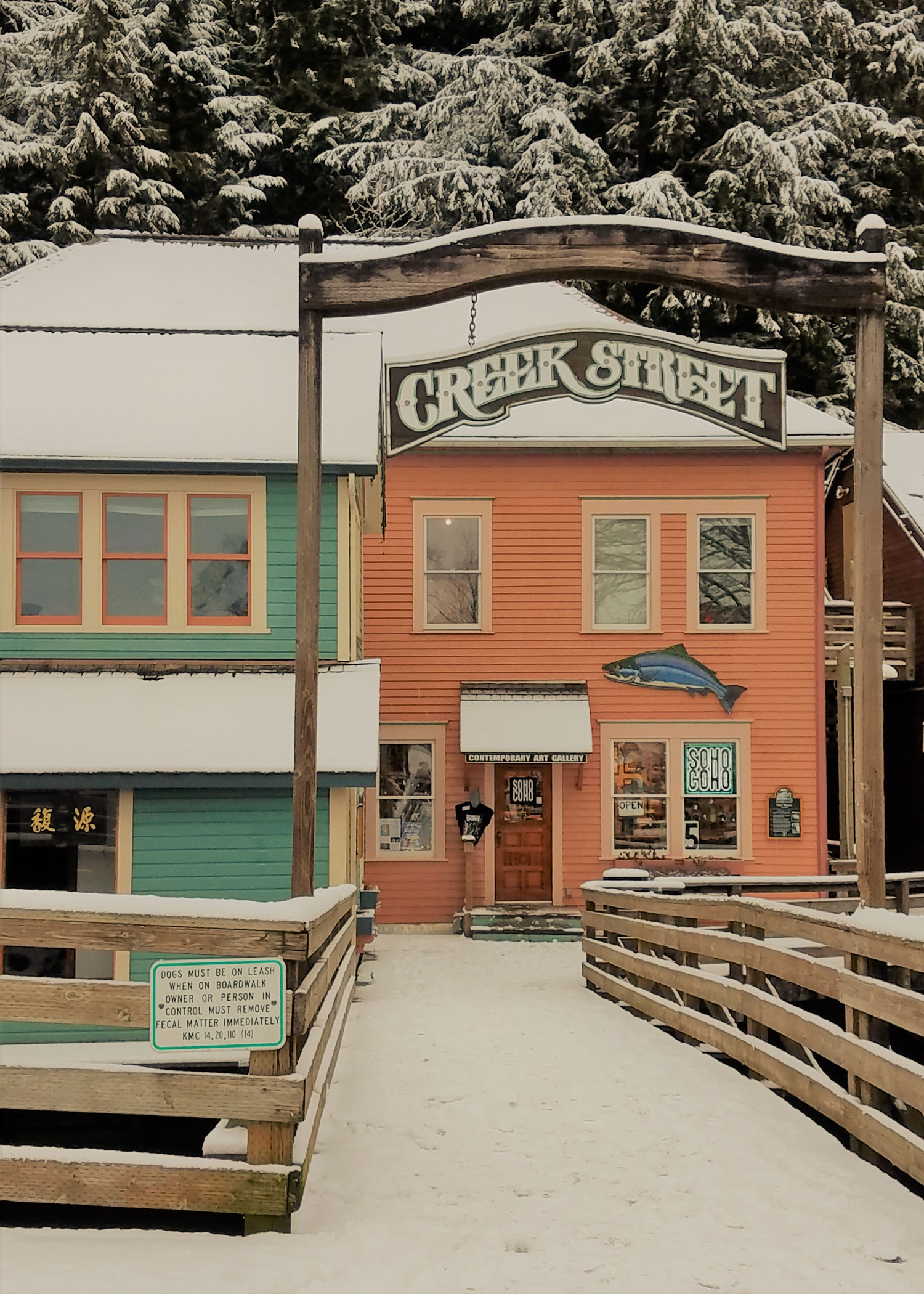 It's quiet in downtown Ketchikan after the cruise season but local businesses like Soho Coho, The Hive and Parnassus Books remain open through the winter months.