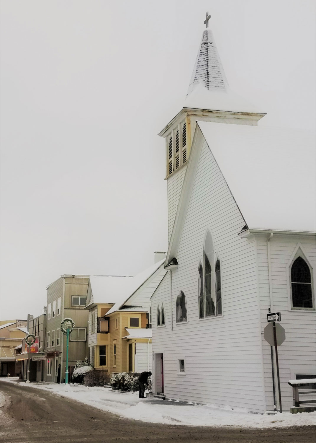 Looking down Mission Street to St. John's Church and the Gross Alaska Cinema: Ketchikan's two screen movie theater.
