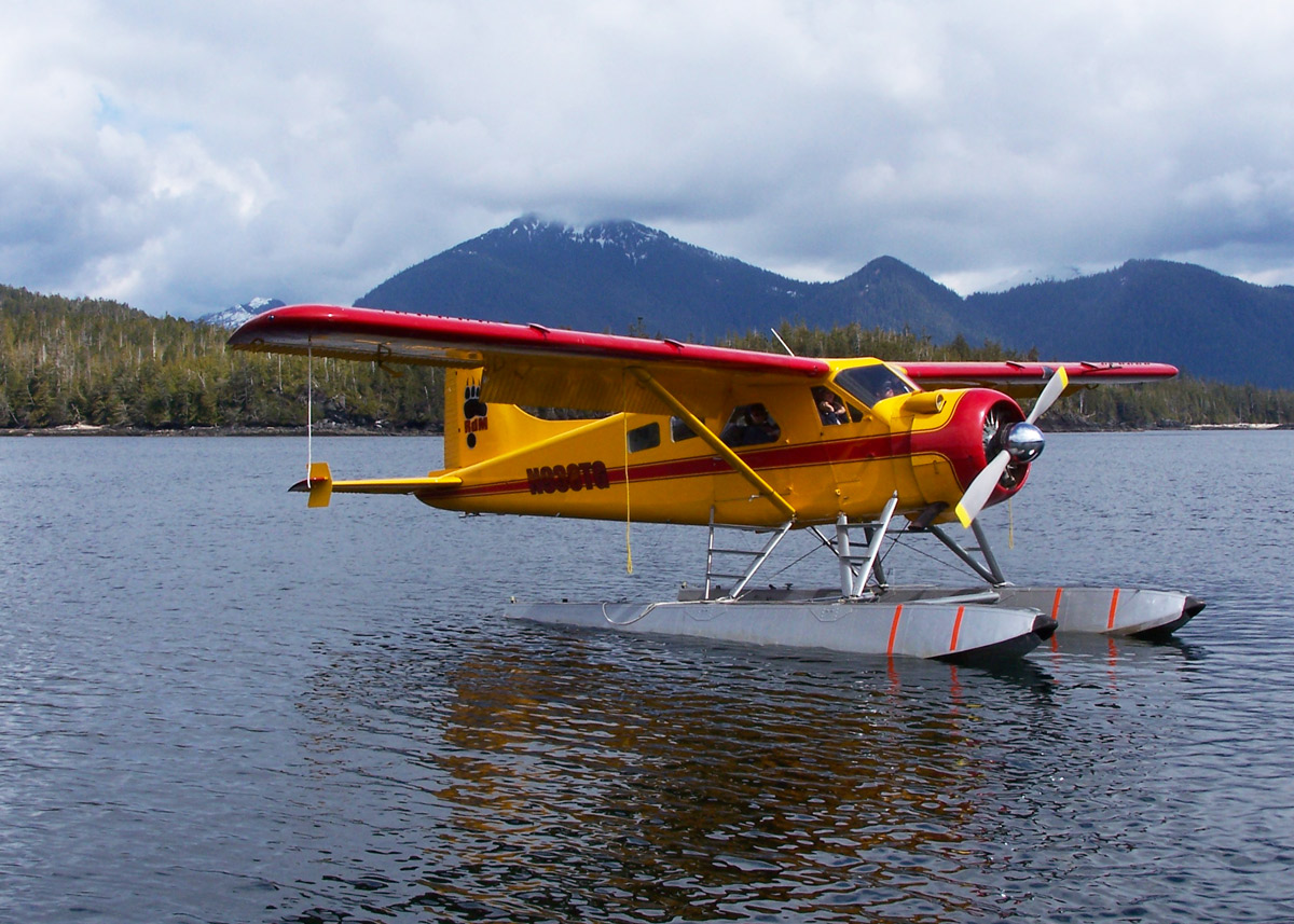 Alaska Seaplane Tours' DeHavilland Beaver arrives at  Orcas Cove  to fly guests to the Misty Fjords National Monument.