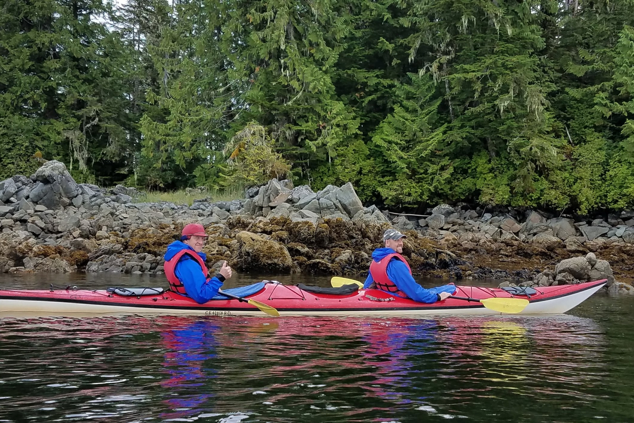 Enjoying the sea air and rainforest shoreline at Orcas Cove.