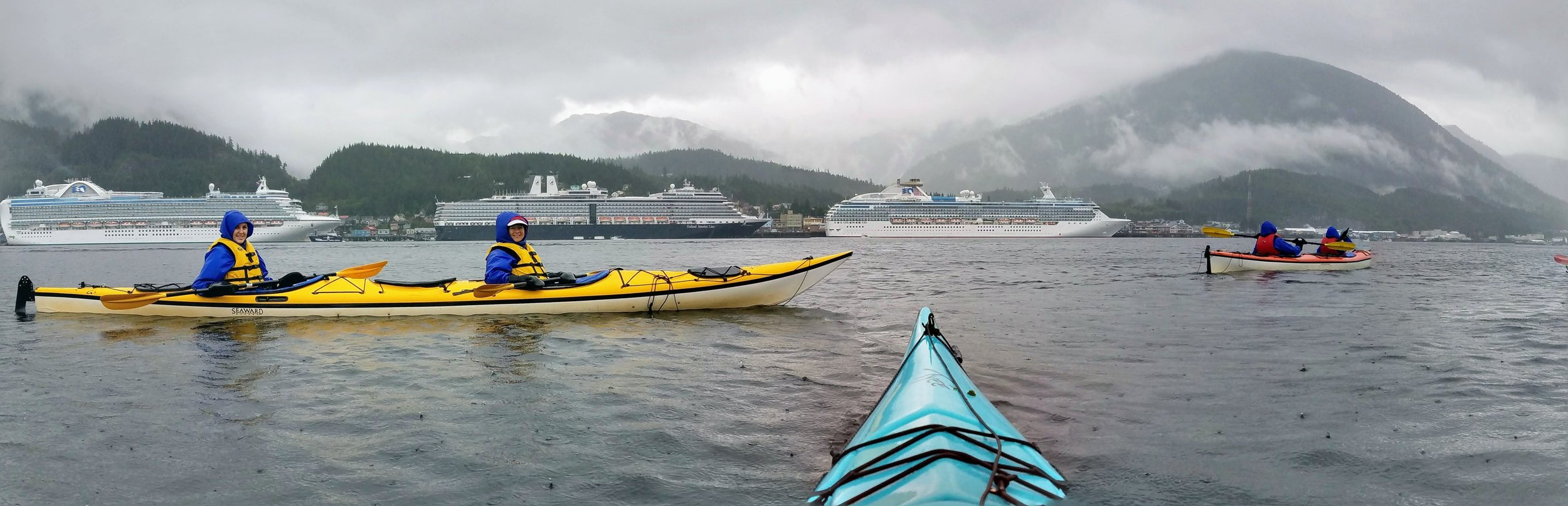 Rain is part of the fun in Ketchikan. We outfit everyone with waterproof gear and get out and enjoy the weather.