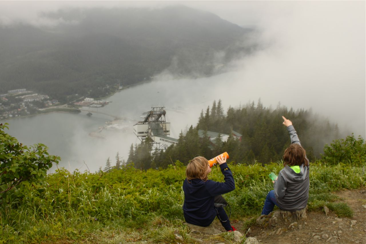 Stopped for a snack on the trail up Mount Roberts in Juneau.