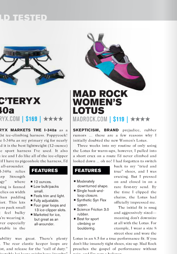 Mad Rock shoe review for print publication