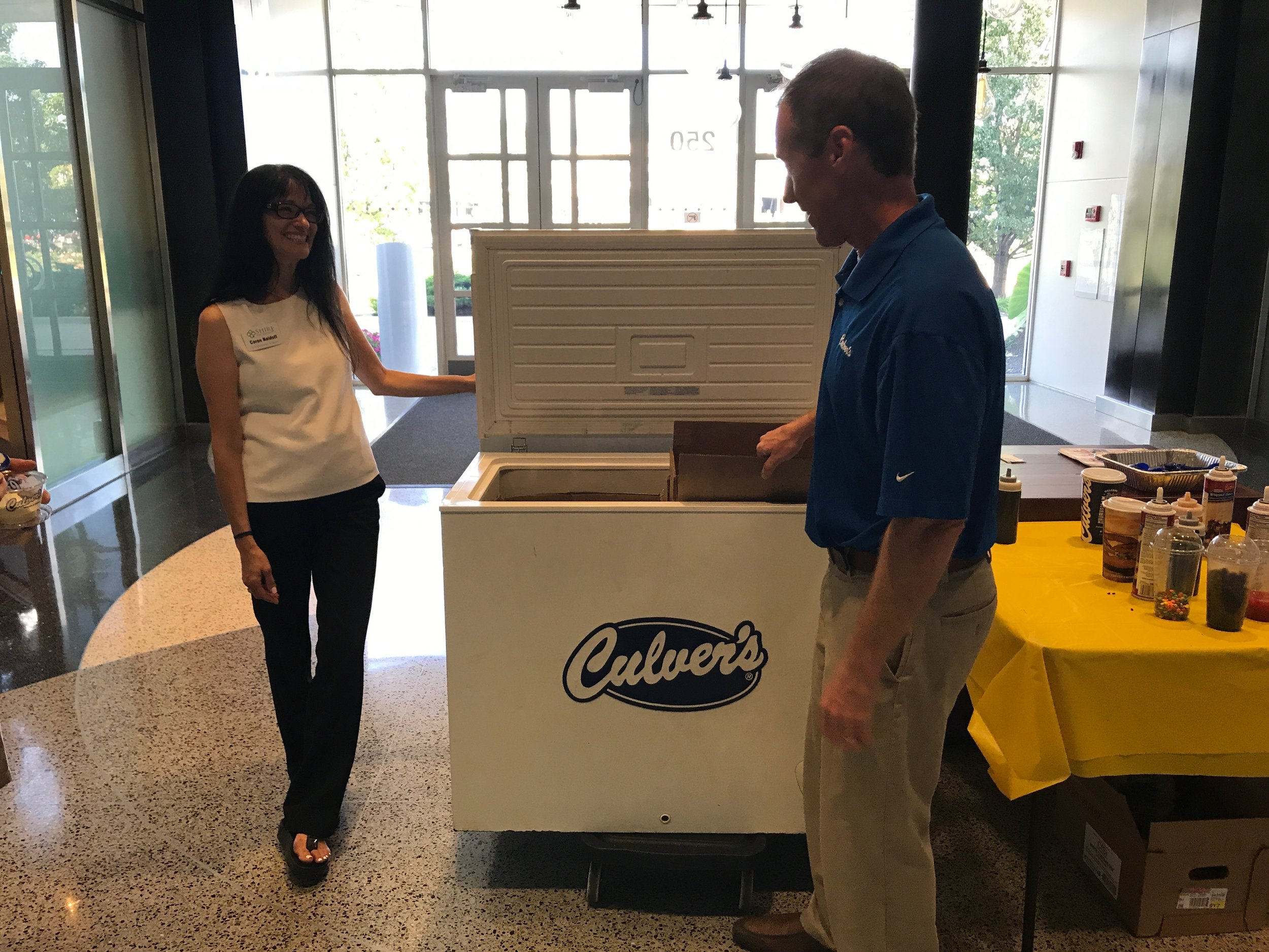 Caren and Kevin (from Culver's) getting the ice cream ready.