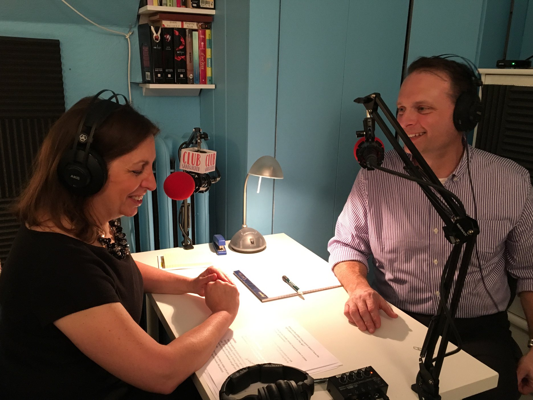 """Alan """"On the Air"""" with Club Sandwiched host, Andrea Weber."""