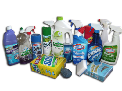 Dish Soap, Bleach, Other Cleaners;Examples of what we use can be found  here ,  here ,  here , or at any basic supply store