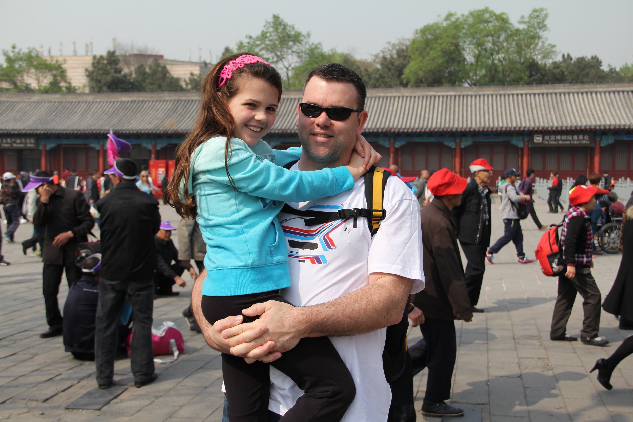 Waiting for Lydia to get our tickets into the Forbidden City.