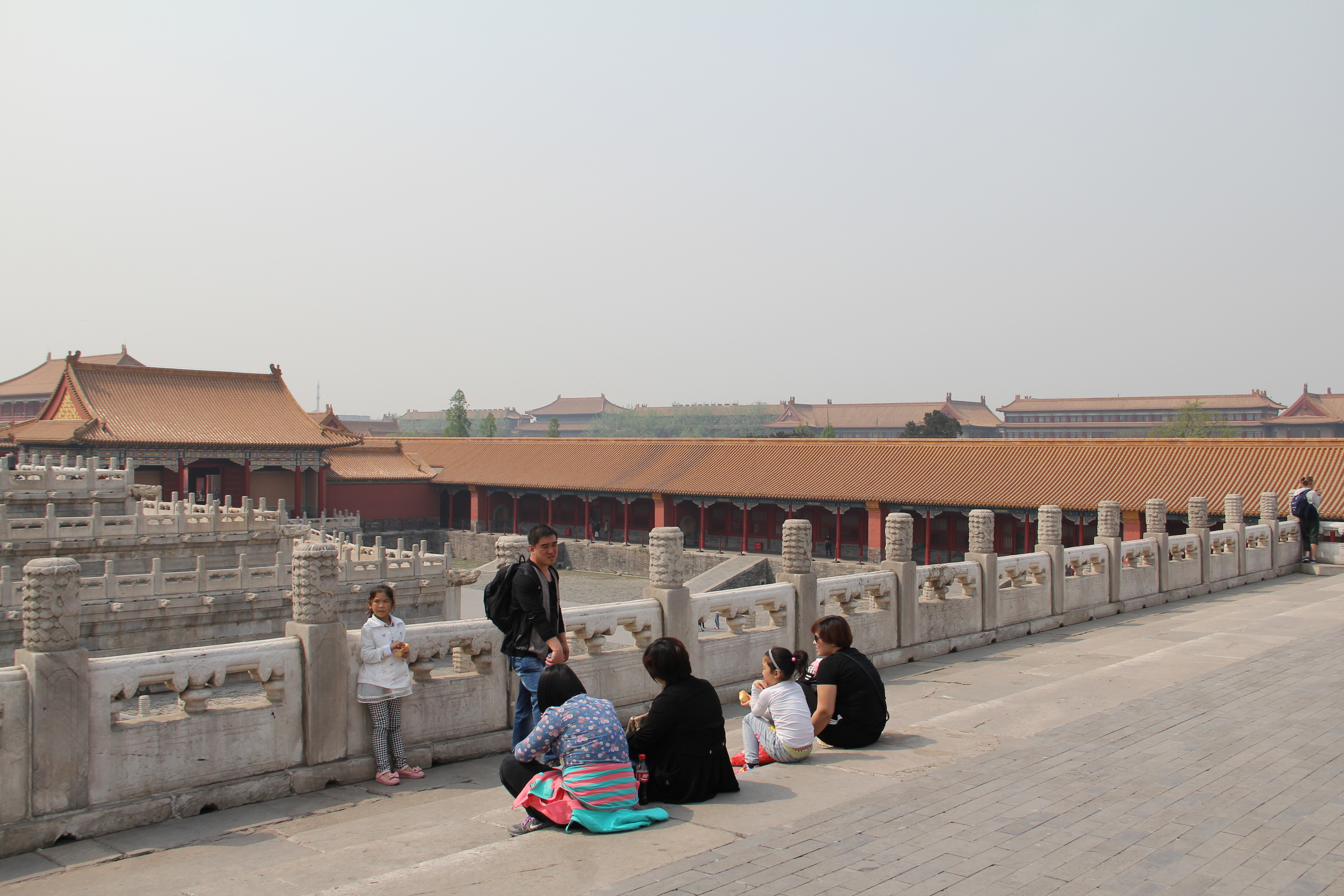 All those similar looking buildings in the background are all part of the Forbidden City. It's immense!