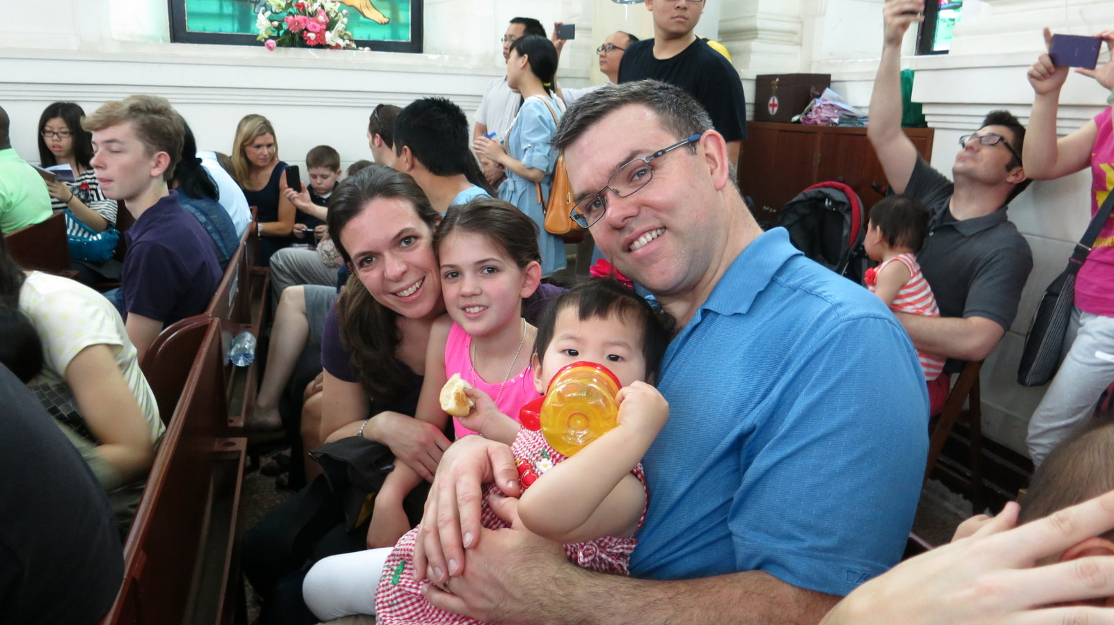 Here we are in church. It was super crowded and bilingual so we were able to worship in English and Mandarin.