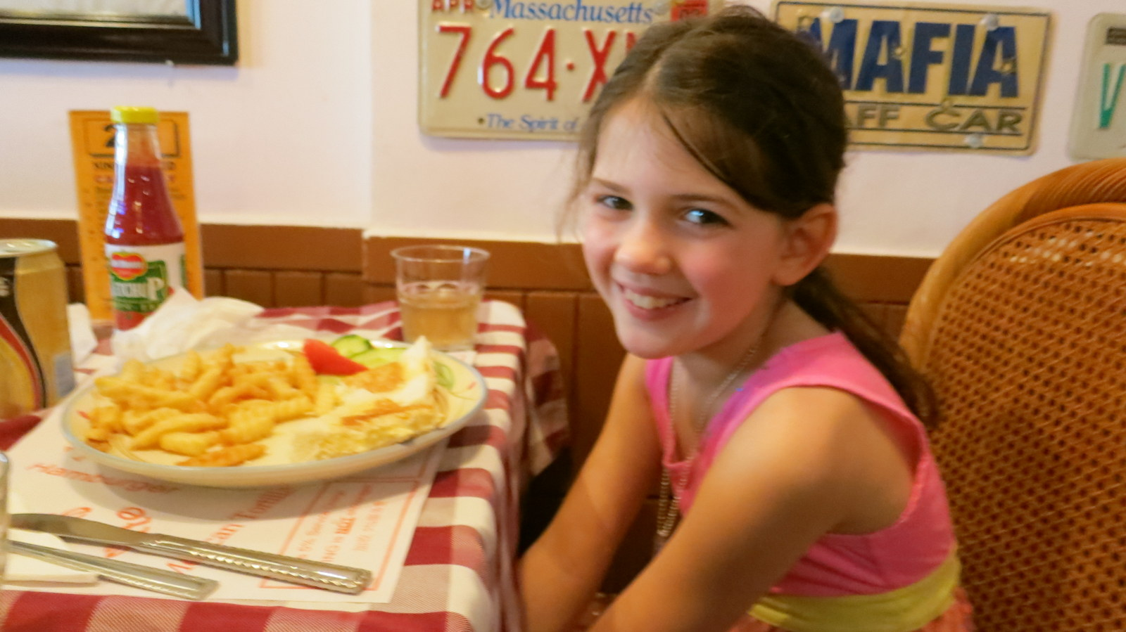 Abigail enjoying a grilled cheese!