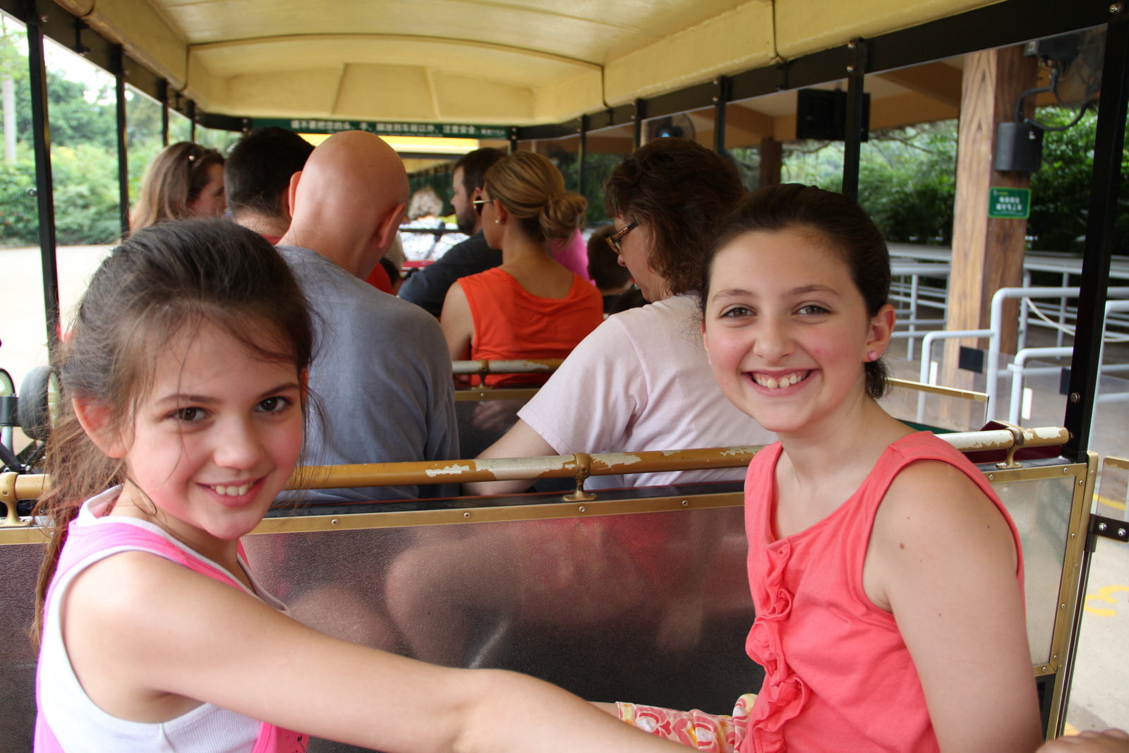 Abby and Isabella on the tram.