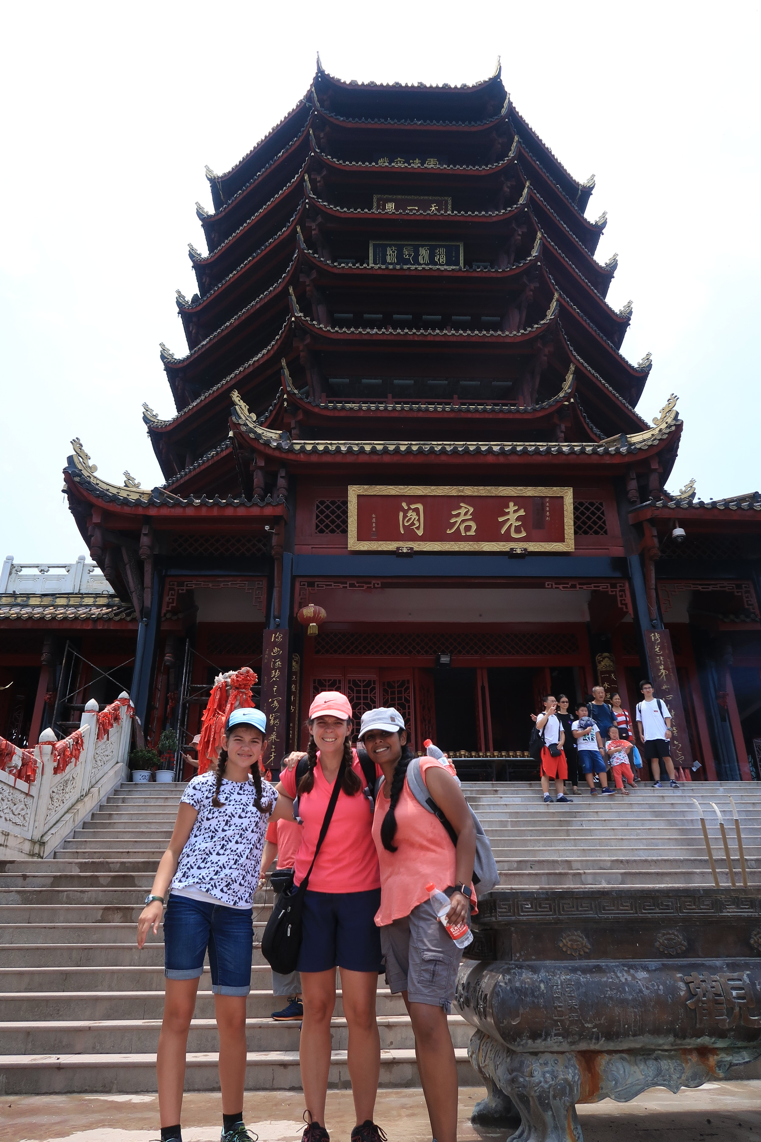 This is the temple at the top of the mountain!  We made it!  It was so hot and humid... we're actually soaking wet from sweat in this picture.