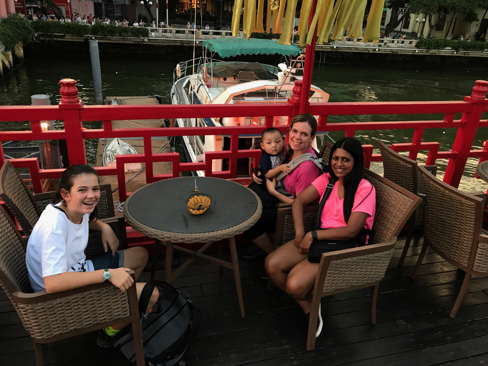 On the dragon boat river cruise.