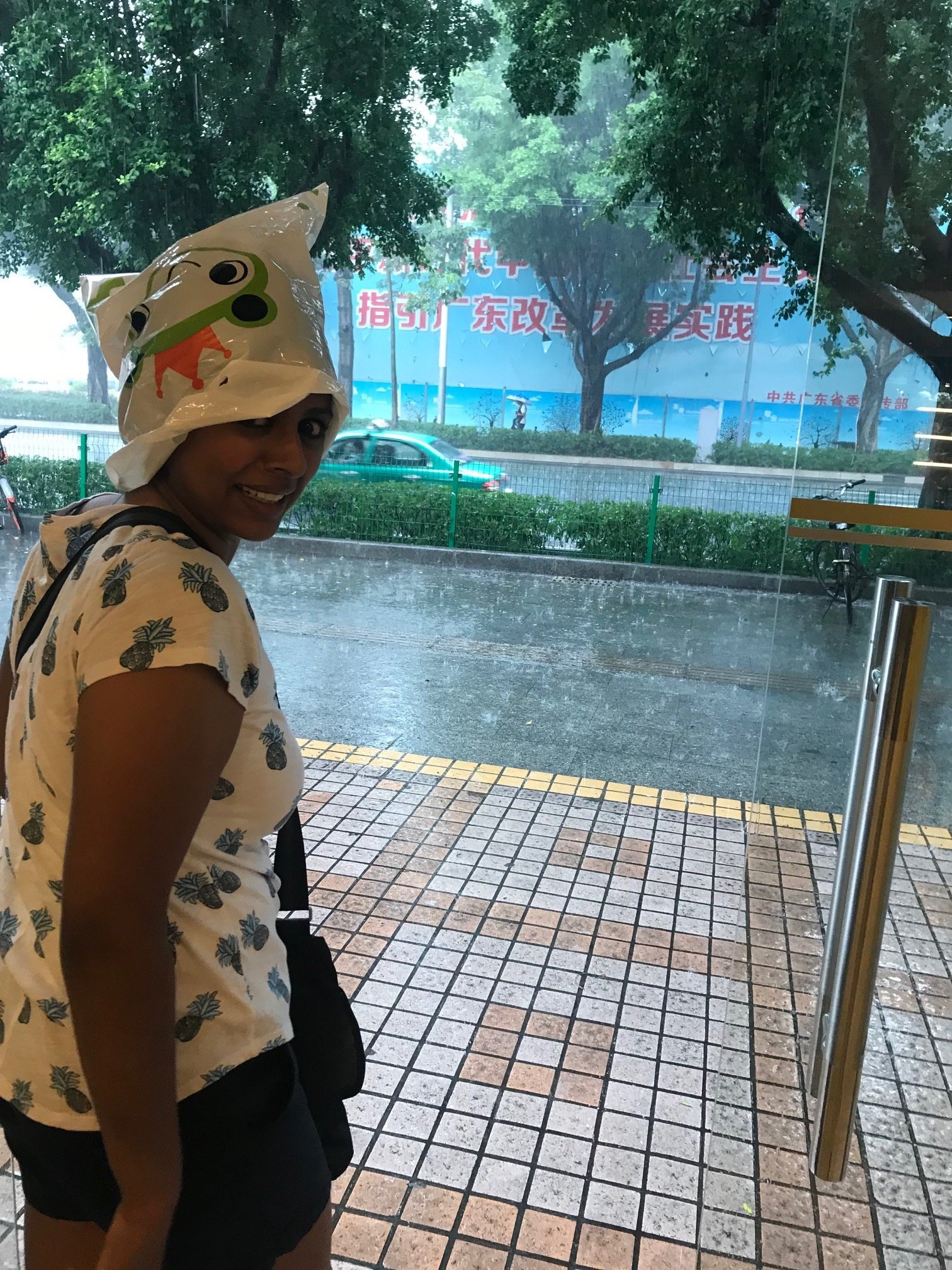 Priscilla and her attempt at keeping her hair dry.... Luke and I got soaked.