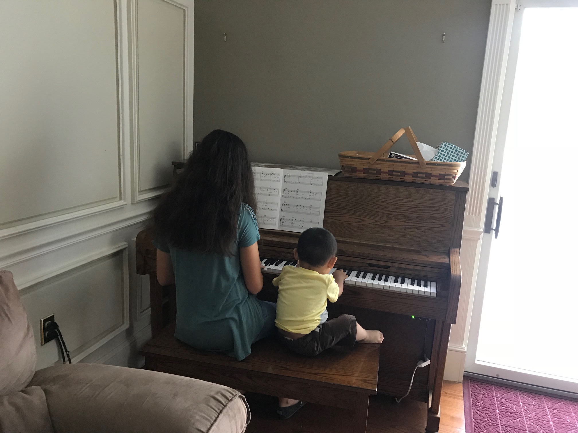 Of course Abby heads straight to the piano and where Abby goes... Luke follows.