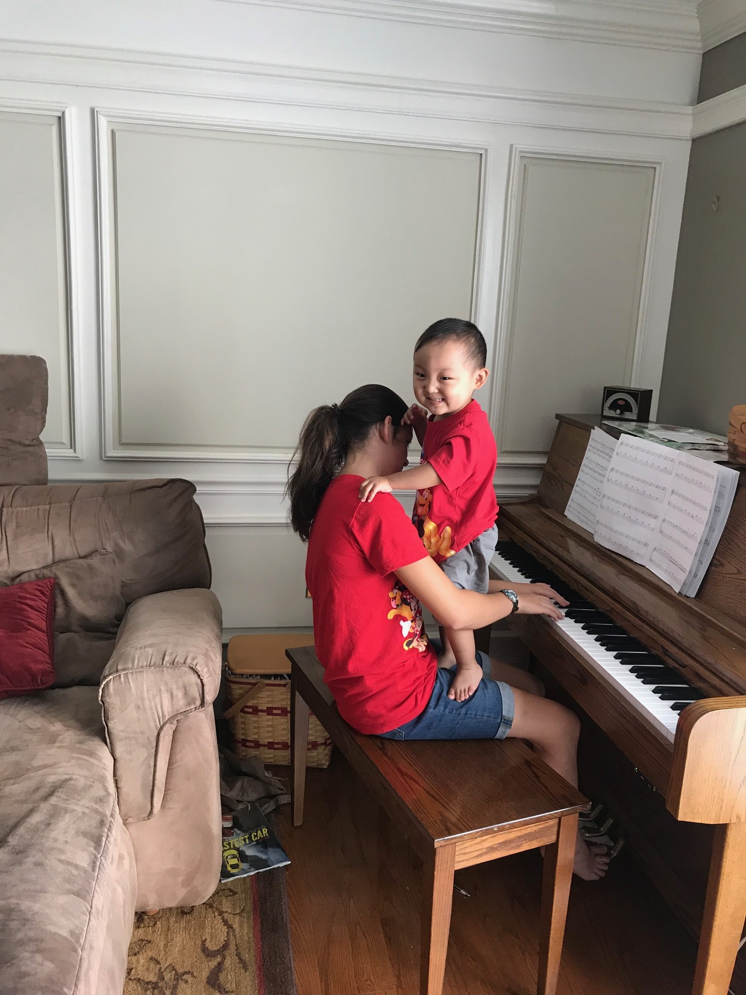 and helping with piano too....