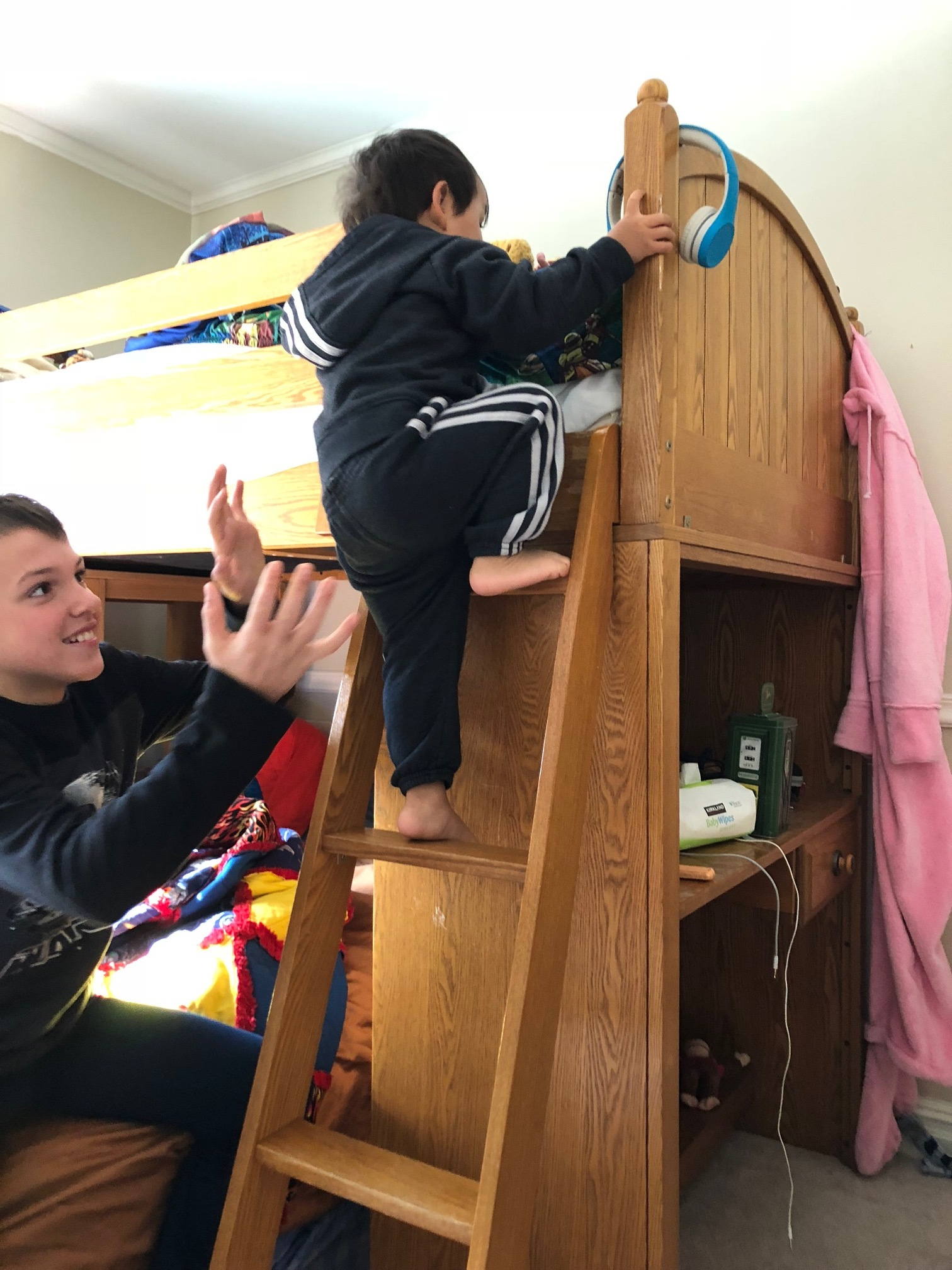 Let him climb, she said… it will be good for him, she said!!! Our physical therapist encouraged us to let him climb… he can't be alone for a second!