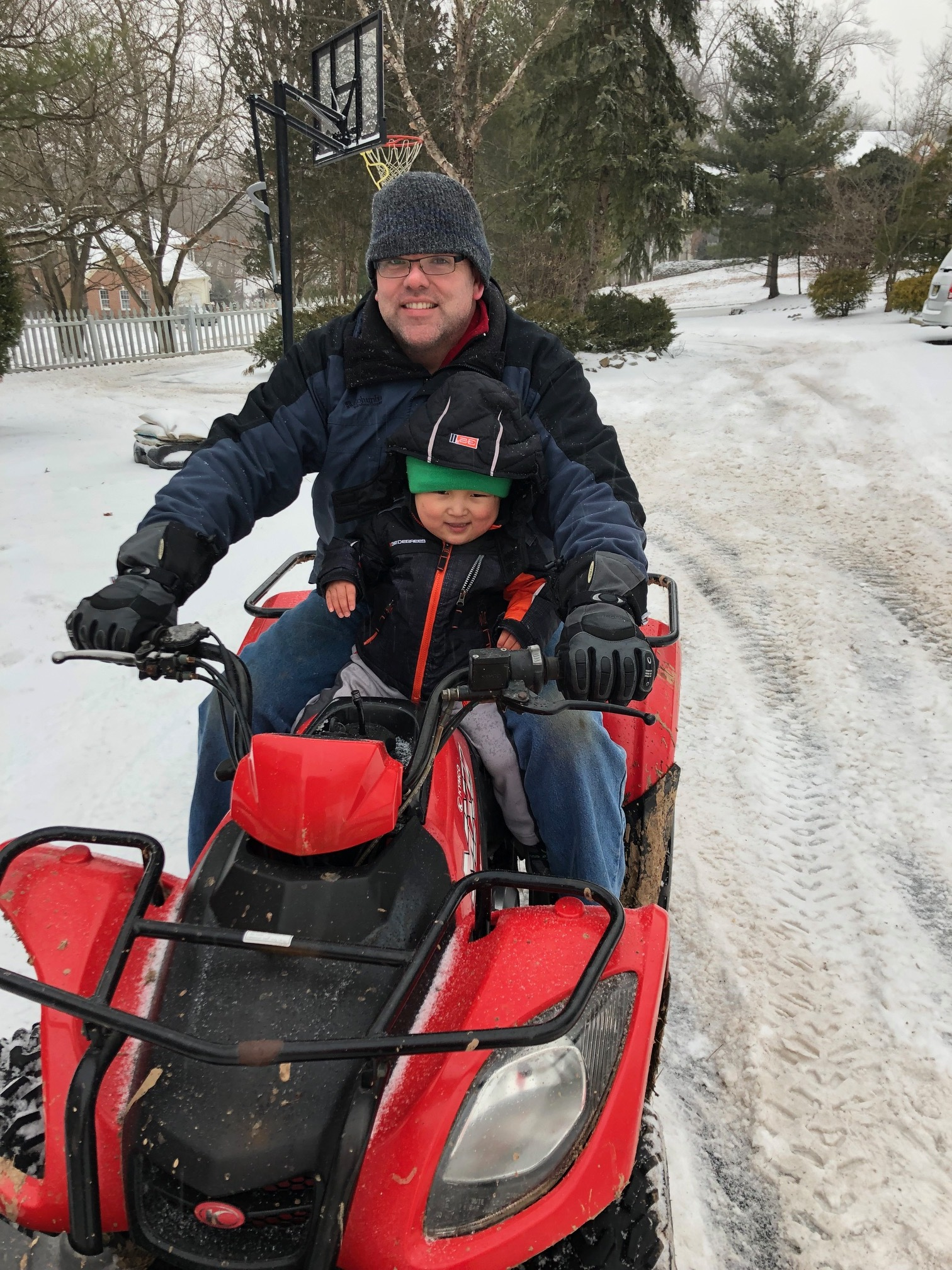 """If he's napping and the four wheeler starts in the yard, he pops awake and yells, """"Four wheeler, four wheeler."""" This kid is such a motor head like his father."""