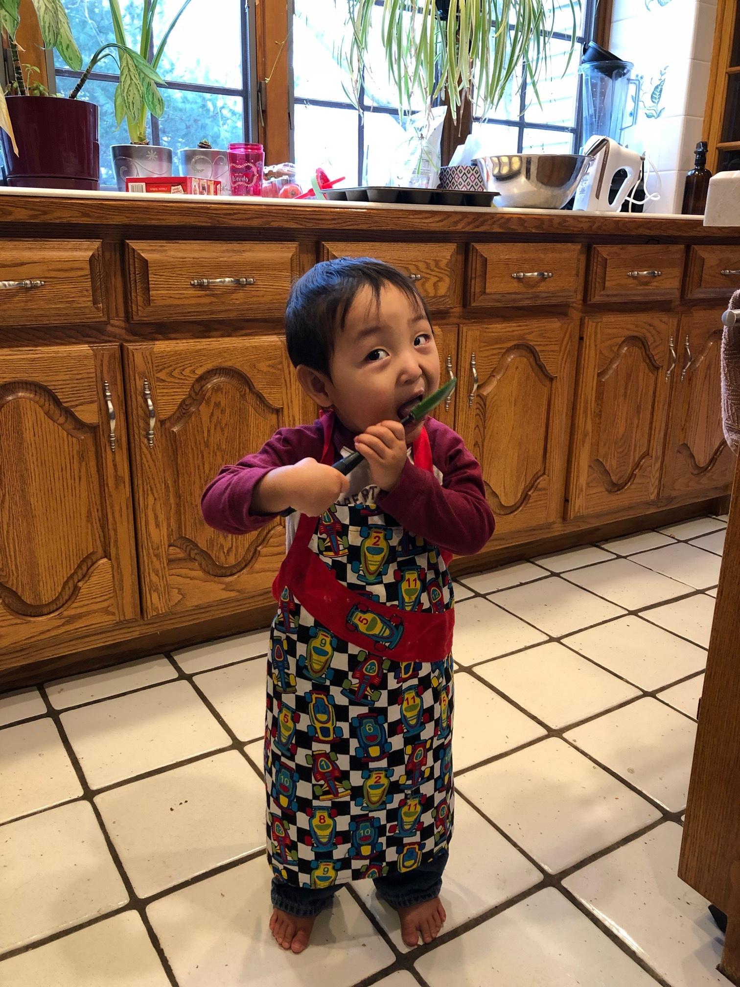 My littlest baker.