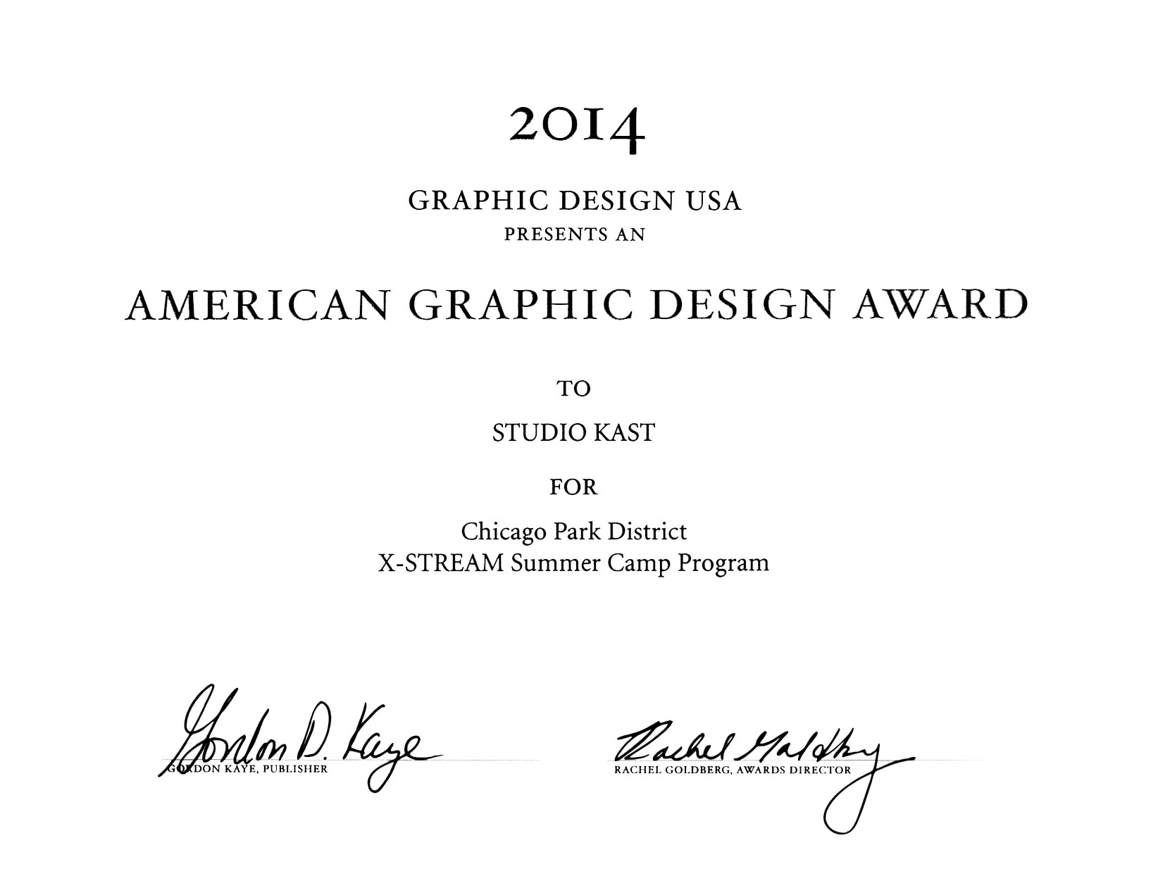 2014 AMERICAN GRAPHIC DESIGN AWARD
