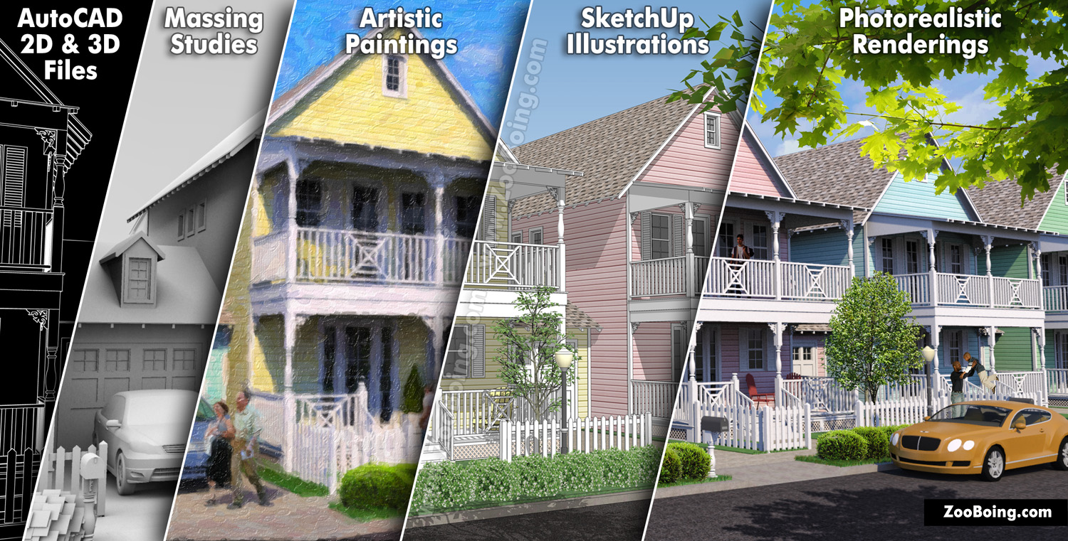 Patrick Hoesly (owner of ZooBoing llc) produces AutoCAD, Massing, Artistic, Sketch and Photo-Realistic illustrations to fit your schedule & budget requirements.