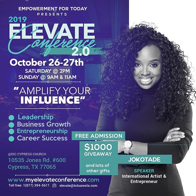 October is a busy speaking month for me and I am so grateful to be speaking at the ELEVATE Conference with two incredible thought leaders @ayojeremiahofficial @toluareola - I'll be sharing some of the life-changing secrets that have accelerated my success and growth. Seats are limited. Register to attend today: MyElevateConference.com
