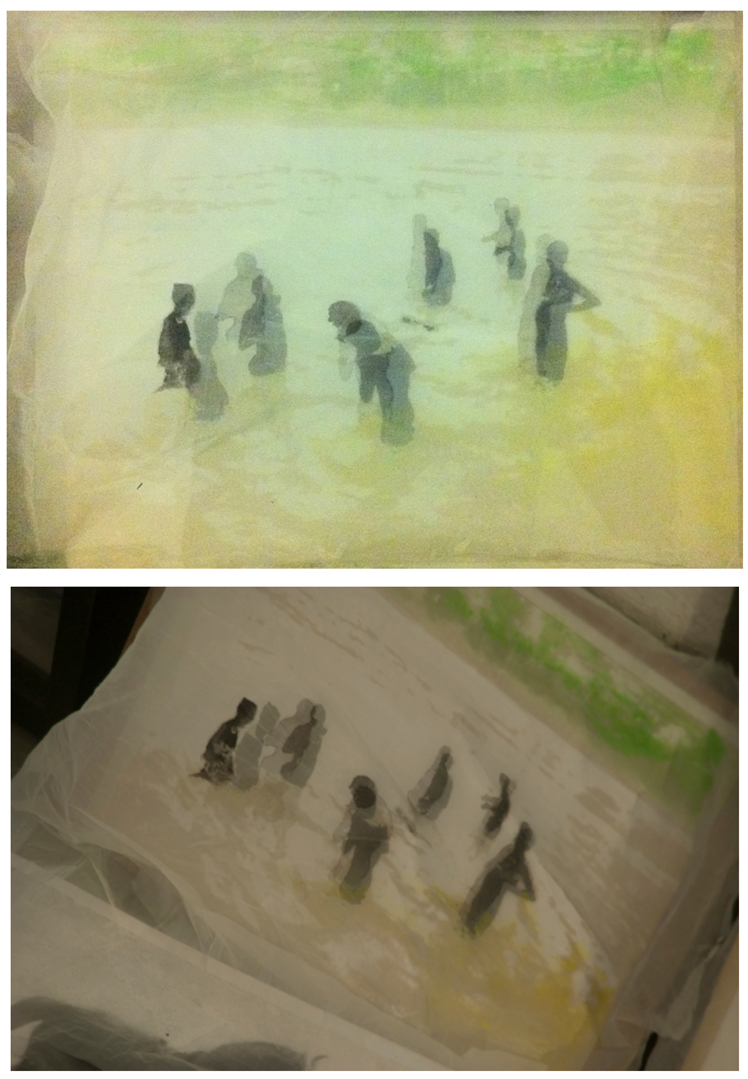 Bathers (2 views) | Mixed media on paper and overlayed handcolored silk cloth | 22x24 in | 2012