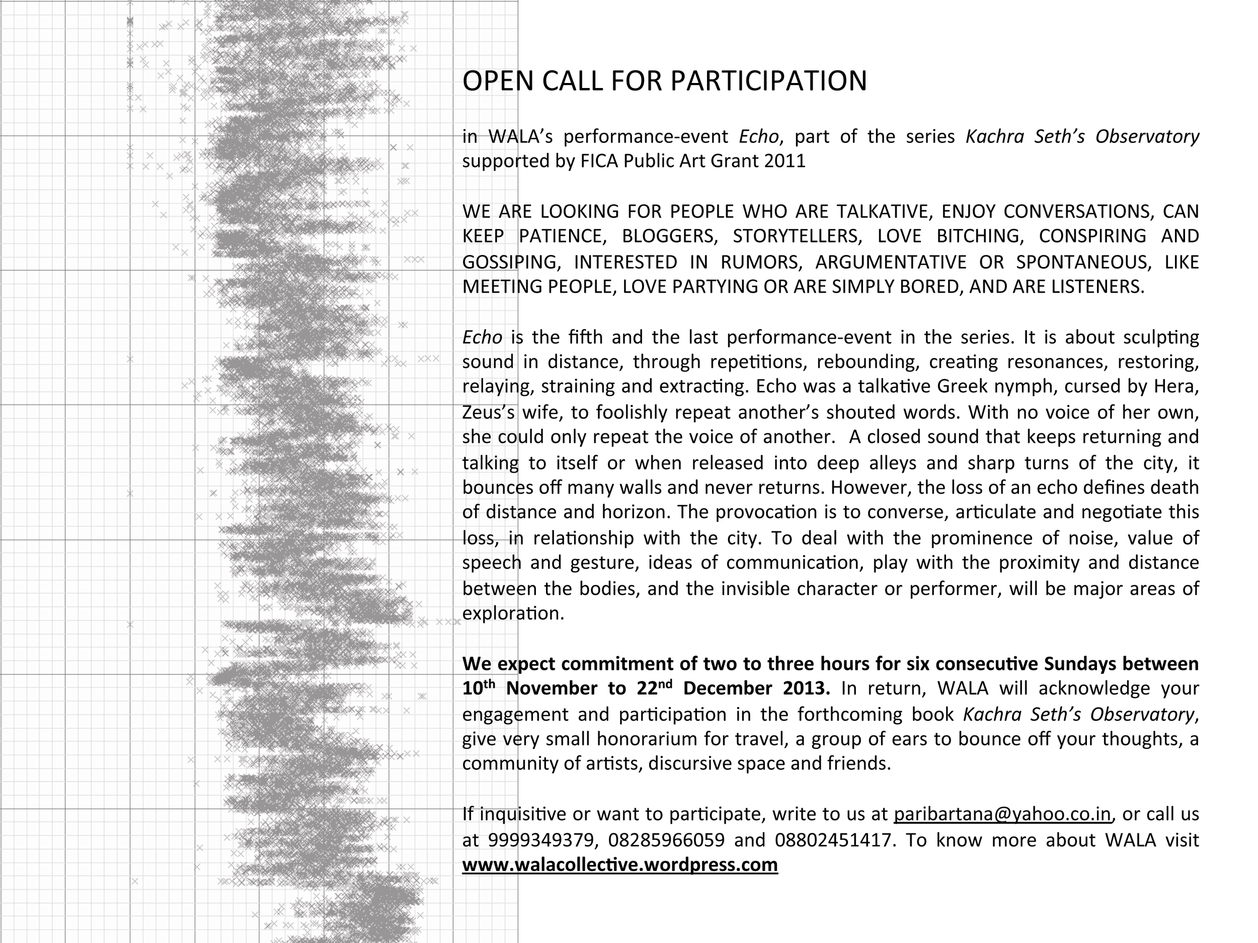 OPEN CALL FOR PARTICIPATION IN PERFORMANCE #5 ENTITLED ECHO