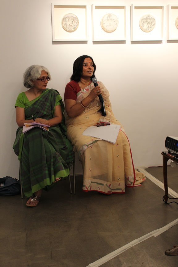 Chandrika Grover of Pro Helvetia with Annapurna Garimella as she starts the session
