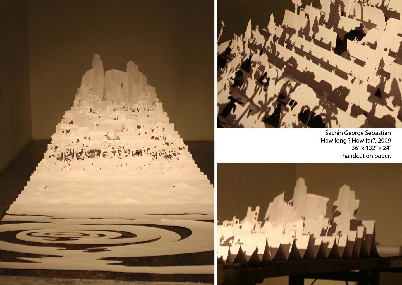 sachin george sebastian, How Long How Far., 2009,  36  x 132 x 24 inches, Handcut on paper.jpg