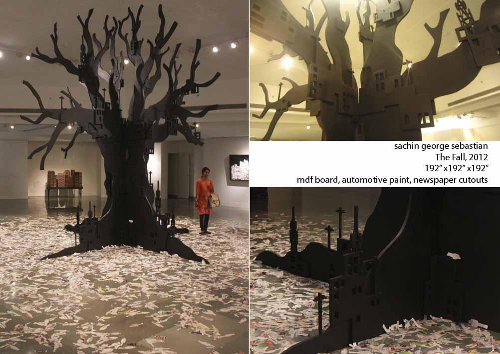 sachin george sebastian, the fall, 2012, 192x192x192 inches, mdf board, automotive paint, newspaper cutouts.jpeg