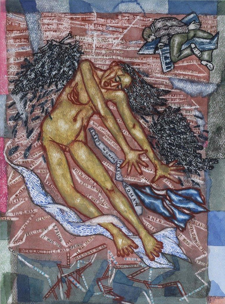"""Arpita Singh   Icarus Woman      Watercolour on paper   1 9"""" x 14""""   2015"""