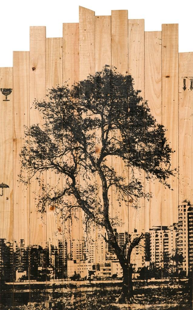 "Arun Kumar HG  The Trespassing  Silkscreen printing on reclaimed wood  53.5"" x 33.5""  2015"